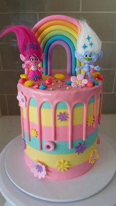 baby ajj sa no taking the names of our past no taking the names of boys n girls promise me Birthday Cakes Girls Kids, 5th Birthday Cake, Trolls Birthday Party, Troll Party, Bolo Trolls, Trolls Cakes, Little Girl Cakes, Cake Decorating Supplies, Drip Cakes