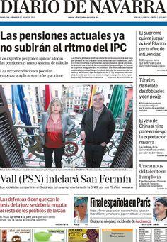 Los Titulares y Portadas de Noticias Destacadas Españolas del 8 de Junio de 2013 del Diario de Navarra ¿Que le parecio esta Portada de este Diario Español?