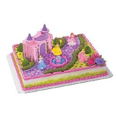 http://www.cupcakepins.com/decopac-disney-princess-castle-cake-topper/ The kit is used to decorate 2 layer quarter sheet cakes. You will receive: A carrying case with handles which is the actual castle. you can store the figurines in it and 4 Princess figurines- Cinderella, Ariel, Belle,Aurora (sleeping beauty)