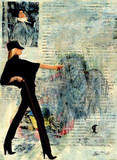 """50-Toulouse Lautrec x Cris Acqua.  Pintura Mixta Collage. 30x21 cm. .  HOMENAJE :""""Mi amor por este genial pintor...dueño de los trazos más libres y geniales de la Belle epoque, me han influido totalmente en mi camino por el arte..."""" (Cris Acqua)  http://www.crisacqua.com"""