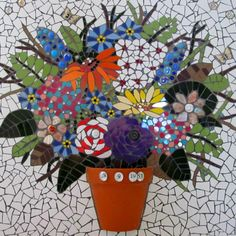 Mosaic still life, flowers in pot. handmadebyhippo on Etsy