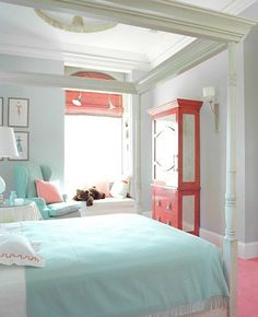 Love this turquoise, coral, and white for a girls room or guest room