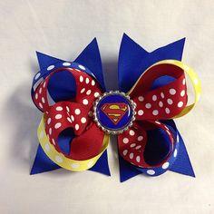 Superman hair bow #bjsbowbows #bow #hairbow #superman #polkadots