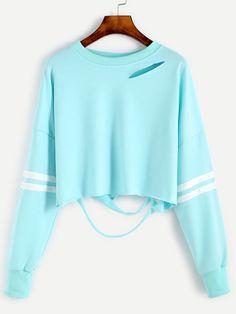 Sleeve Striped Drop Shoulder Cut Out Crop Sweatshirt