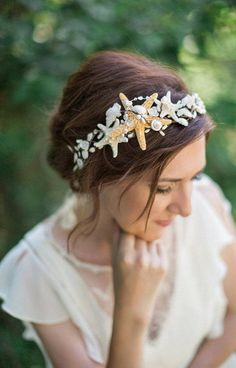 seashell headpiece, seashell headband, seashell hair accessories, starfish headpiece, seashell crown