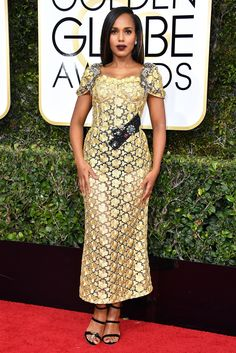 Kerry Washington Dress: Dolce & Gabbana 74th Golden Globe Awards, Golden Globes, Celebrity Red Carpet, Celebrity Style, Celebrity Beauty, Celebrity Photos, Black And Gold Gown, Gold Silk, Gold Lace