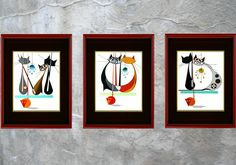 SET of THREE Mid century modern cat prints by COLBYandFRIENDS  $80