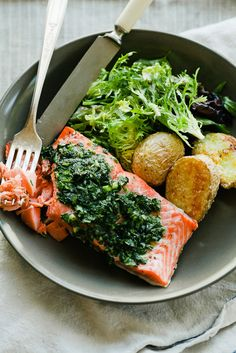 salmon with roasted potatoes
