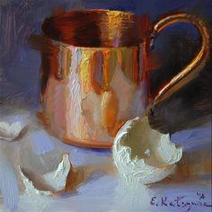"Daily+Paintworks+-+""Copper+and+Eggshell""+-+Original+Fine+Art+for+Sale+-+©+Elena+Katsyura"