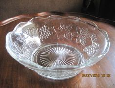 anchor hocking crystal clear glass bowl with grape vines and wide scalloped rim with sunburst in center by craftycreationsbycw on Etsy