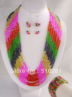 Free Shipping!!! LK-128 Stylish Women's Crystal Flower Necklace, African Jewelry Set Fit Wedding Party $68.31