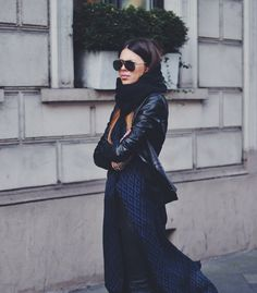 Maxi Dress with Leather Pants & Jacket