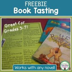 Book Tasting FreebieHost a book tasting in your 3rd to 7th grade classroom or library-media center! Students spend 3-4 minutes with each book and record their observations before rotating to the next selection.This Book Tasting Freebie is a free sample from my Lit Circle Journal.The Lit Circle Journal contains everything you need to run a low-prep three or four week literature circle or book club in your fourth or fifth grade classroom!