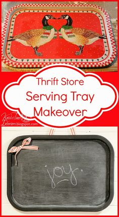 Repurposed Serving Tray into Magnetic Wall Chalkboard  ~~~via Knick of Time knickoftimeinteriors.blogspot.com
