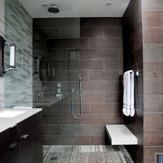 www.carolinawholesalefloors.com has more flooring and design ideas OR check out our Facebook - https://www.facebook.com/pages/Carolina-Wholesale-Floors/203627269686467?ref=hl Dark and sexy, this is a great masculine bathroom.