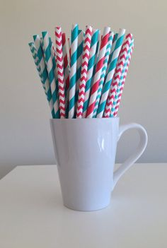 Paper Straws  25 Red and Teal / Turquoise / Aqua Chevron and Striped Dr. Seuss Birthday Theme Straws by PuppyCatCrafts, $3.60