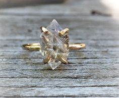Diamond crystal point ring Herkimer Diamond Ring 14k by mossNstone on Etsy
