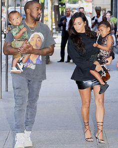 rapper Kanye West and his wife, business entrepreneur, Kim Kardashian, stepped out with their kids North West and Saint West
