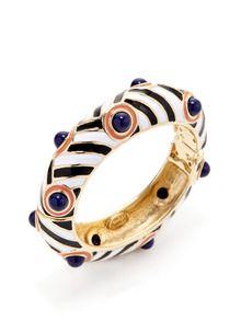 Kenneth Jay Lane Multi-Color Enamel & Blue Cabochon Bangle Bracelet