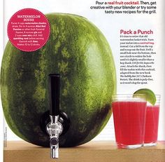 Watermelon Cocktail Keg- A MUST TRY!  Nice for the family without the hard stuff in it, great for cookout or birthday party. Water melon lemonade?  Make a fruit salad or fruit spears with the water melon then put drink of choice inside the empty melon.