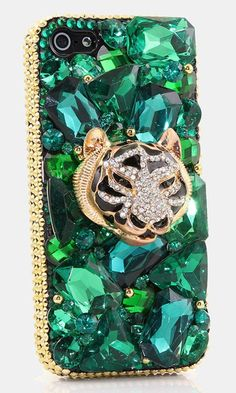 Emerald Tiger Design bling case made for Samsung Galaxy S3/ S4/ S5 Samsung Note 3/ 4/ 5 iPhone 6/ 6S Plus Nokia Lumia Black Berry HTC Motomola and other devices. Crystal bling phone case for girls. http://luxaddiction.com/collections/3d-designs/products/e