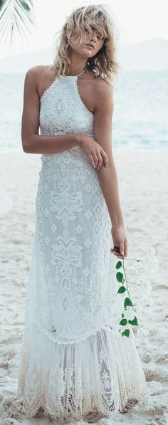 White Lace Halter Gown                                                                             Source