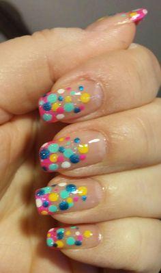 Crazy colorful polka dots.
