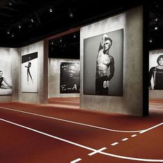 """Giorgio Armani curated """"Emotions of the Athletic Body"""", a photography exhibition at Armani/Silos in Milan Museum Exhibition Design, Exhibition Display, Exhibition Space, Design Museum, Art Museum, Museum Lighting, Exposition Photo, Environmental Graphic Design, Environmental Graphics"""