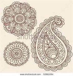 Stock Vector  Hand Drawn Henna Mehndi Tattoo Flowers And Paisley
