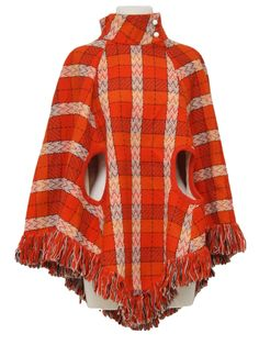 Retro Seventies Jacket: 70s -Dale of California- Womens orange, red, white, black and purple plaid, acrylic mod poncho with two arm holes, fringed bottom hem, cute side zippered closure along the left neck and two white buttons along the stand up collar.