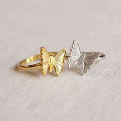 small butterfly ring . stackable butterfly ring by trystjewellery
