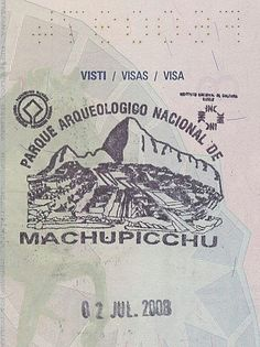 Macchu Picchu, passport stamp