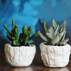 Make these cool, DIY Air-Dry Clay Planters for your tiny house plants! Succulent Pots, Succulents Diy, Clay Pinch Pots, Clay Pots, Clay Projects For Kids, Class Projects, Beginner Pottery, Hand Built Pottery, Slab Pottery