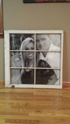 Rustic window frame of our engagement picture