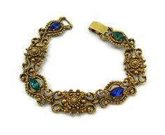 Florenza Gold Bracelet Clasp Green Blue Rhinestone Vintage Costume Jewelry  Designer Signed  Estate Jewelry Victorian Jewelry Gift ideas by TreasureTrovebyTish on Etsy