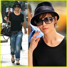 A fedora with short hair & she actually looks really cute!!!! There's hope for me! ;)