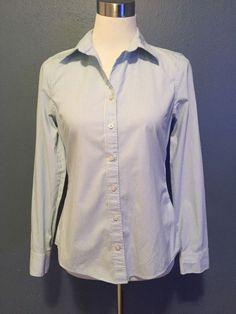 Banana Republic Women's Non Iron Button Up Fitted LS Career Shirt Blue Stripe 4  | eBay