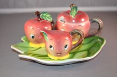 Py Miyao Japan Smiling Apple Face Child's Condiment Set Anthropomorphic Vintage