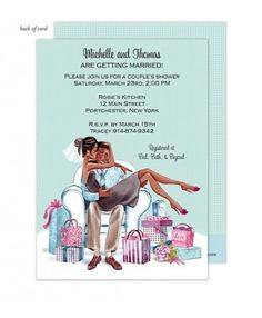 Kissing Couple African American Wedding Shower Invitation