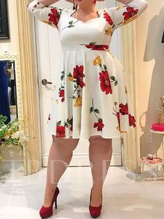 Plus Size V-Neck Three-Quarter Sleeve Print Pullover Women's Dress Curvy Fashion, Plus Size Fashion, Plus Size Dresses, Plus Size Outfits, Plus Sise, African Wear Dresses, Casual Dresses For Women, Clothes For Women, Stylish Work Outfits