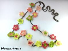 CROCHETED FLOWERS NECKLACE various color tones by HomeArtist