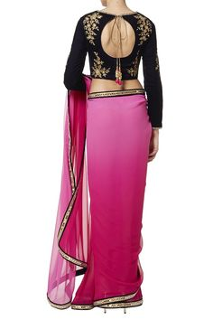 Hot pink sari and navy blouse back shot