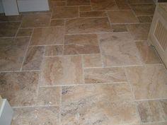 Slate flooring in Versailles pattern - anyone done it? Travertine Tile Backsplash, Travertine Floors, Slate Flooring, Kitchen Flooring, Slate Tiles, Tiling, Flooring Ideas, Versailles Pattern, Colonial