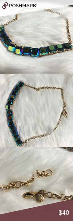Beautiful multicolored j.crew necklace Gold chain with blue, purple, green gems that sparkle in every angle. Can be used casually or elegantly. J. Crew Jewelry Necklaces