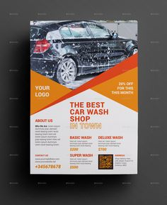 Car Wash Flyer   	Very Powerful & Promotional Flyer Clean Creative & Modern for Any kinds of Car Wash Shop Use.    Features   DIN A4 size print dimension with Bleed    Well Layered Organised EPS wi...
