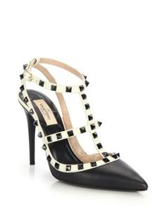 Valentino - Grommet-Studded Leather Pumps - Saks.com