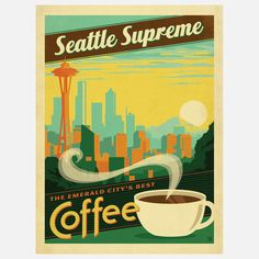 Seattle Supreme Coffee Print by Andy Gregg & Joel Anderson