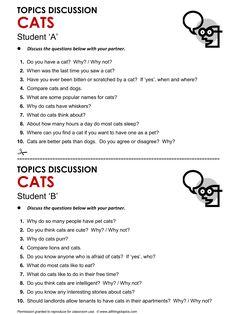 Cats, English, Learning English, Vocabulary, ESL, English Phrases, http://www.allthingstopics.com/cats.html
