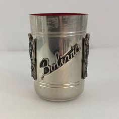 "Vintage PEWTER Cup Made in Bolivia TRIBAL PATTERN 3.5"" (AL)"