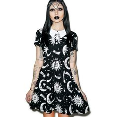 Kill Star Cozmic Death Doll Dress ($55) ❤ liked on Polyvore featuring dresses, black a line dress, babydoll dress, print dress, black skater dress and mesh skater dress